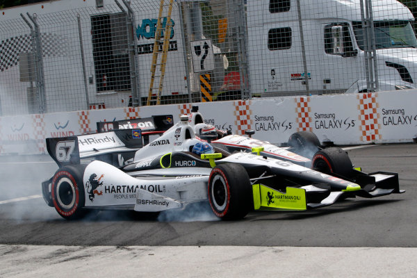 20 July, 2014, Toronto, Ontario, Canada Will Power crashes with Josef Newgarden ©2014, Brian Cleary LAT Photo USA