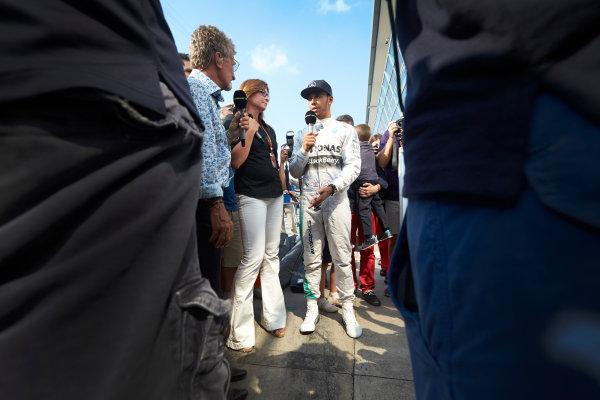Autodromo Nazionale di Monza, Monza, Italy. Sunday 7 September 2014. Lewis Hamilton, Mercedes AMG, is interviewed. World Copyright: Steve Etherington/LAT Photographic. ref: Digital Image SNE28669