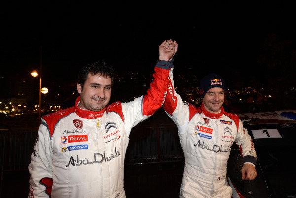 R-L: Sebastien Loeb (FRA) and Daniel Elena (MC) win the Monte Carlo Rally. FIA World Rally Championship, Rd1, Rally Monte- Carlo, Day Four, Monte-Carlo, Monaco, 19 January 2013.