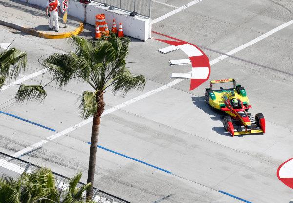 2014/2015 FIA Formula E Championship. Long Beach ePrix, Long Beach, California, United States of America. Friday 3 April 2015 Lucas di Grassi (BRA)/Audi Abt Sport - Spark-Renault SRT_01E  Photo: Jed Leicester/LAT/Formula E ref: Digital Image _JL20227