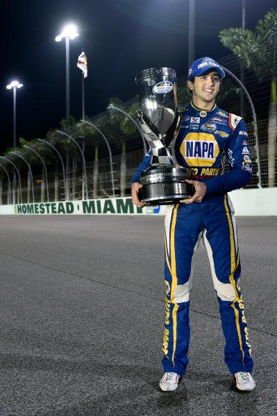 14-15 November, 2014, Homestead, Florida USA Chase Elliott celebrates his Championship win ? 2014, Nigel Kinrade LAT Photo USA