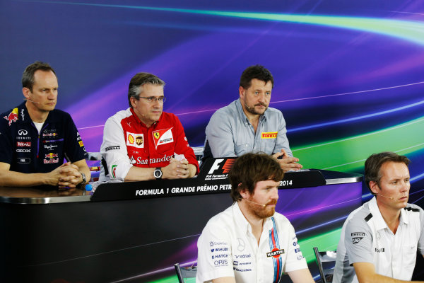 Interlagos, Sao Paulo, Brazil. Friday 7 November 2014. Jonathan Wheatley, Team Manager, Red Bull Racing, Pat Fry, Director of Chassis, Ferrari, Paul Hembrey, Director, Pirelli Motorsport, Rob Smedley, Head of Vehicle Performance, Williams F1, and Sam Michael, Sporting Director, McLaren, in the Team Principals Press Conference. World Copyright: Charles Coates/LAT Photographic. ref: Digital Image _N7T9420