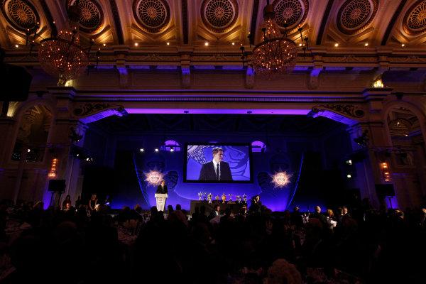 2014 BRDC Annual Awards The Grand Connaught Rooms, London, UK Monday 8 December 2014. Jake Humphrey on stage. World Copyright: Ebrey/LAT Photographic. ref: Digital Image Humphrey-02 (2)