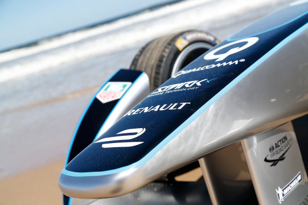 FIA Formula E Test Day. Formula E Car on the beach. Punta Del Este, Uruguay, South America. Formula E Third Race Event, 11th - 14th December 2014. Sunday 14 December 2014.  Photo: Adam Warner/LAT/FE ref: Digital Image _L5R5168