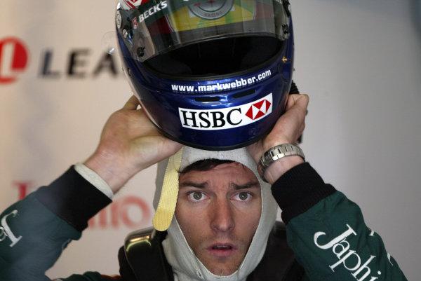 2003 San Marino Grand Prix - Friday 1st QualifyingImola, Italy. 18th April 2003Mark Webber, Jaguar R4, portrait.World Copyright: Steve Etherington/LAT Photographic ref: Digital Image Only