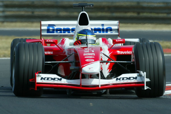 2003 Hungarian Grand Prix - Friday Qaulifying, Budapest, Hungary.22nd August 2003.Cristiano da Matta, Toyota TF103, action.World Copyright LAT Photographic.Digital Image Only.