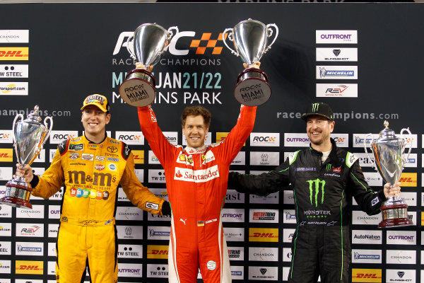 2017 Race of Champions Miami, Florida, USA Sunday 22 January 2017 Podium Nations cup: Race winner Sebastian Vettel; second place Team USA-NASCAR with Kyle Busch and Kurt Busch World Copyright: Alexander Trienitz/LAT Photographic ref: Digital Image 2017-RoC-MIA-AT2-3154