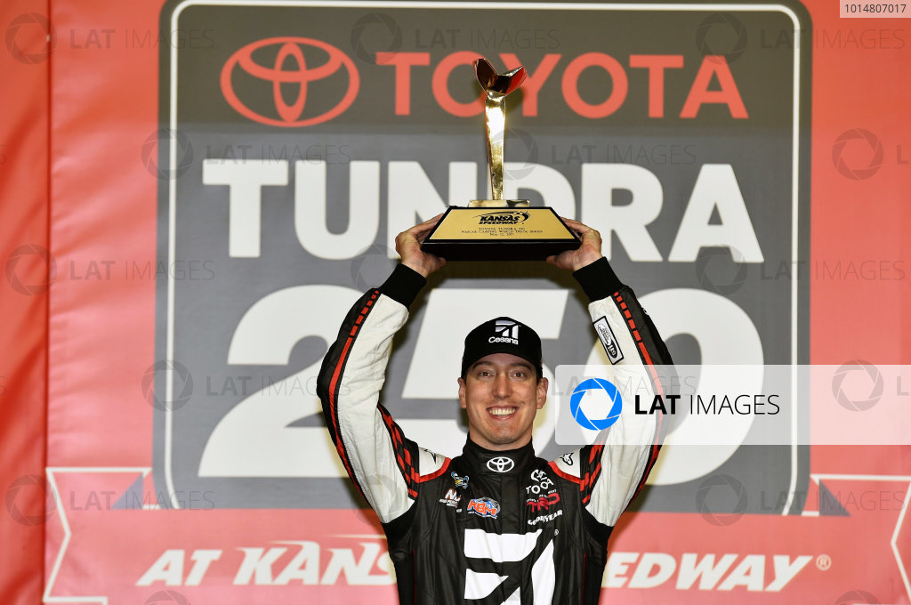 NASCAR Camping World Truck Series Toyota Tundra 250 Kansas Speedway, Kansas City, KS USA Friday 12 May 2017 Kyle Busch, Cessna Toyota Tundra celebrates his win in Victory Lane World Copyright: Nigel Kinrade LAT Images ref: Digital Image 17KAN1nk07240