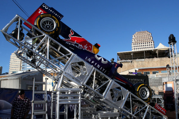 Red Bull Racing show car. FOTA Austin Fans Forum, Cedar Street Courtyard, Austin, Texas, Wednesday 13 November 2013.