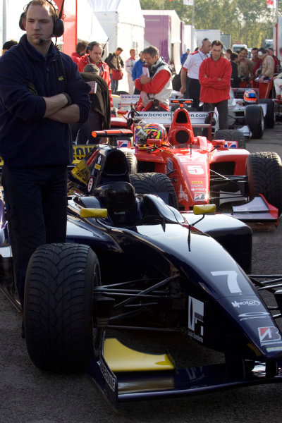 2005 GP2 Series - ImolaAutodromo Enzo e Dino Ferrari, Italy. 21st - 24th April.Friday PracticeThe cars of Giorgio Pantano (I, Super Nova International) and Ernesto Viso (YV, BCN Competicion) are prepared for the first session in the pits.Photo: GP2 Series Media Serviceref: Digital Image Only.