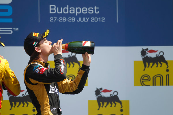 Hungaroring, Budapest, Hungary. 29th July 2012.Sunday Race.Esteban Gutierrez (MEX, Lotus GP) celebrates his victory on the podium. World Copyright: Andrew Ferraro/GP2 Media Serviceref: Digital Image _Q0C5890.jpg