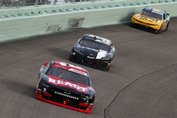 #23: John Hunter Nemechek, GMS Racing, Chevrolet Camaro Fire Alarm Services, Inc. and #19: Brandon Jones, Joe Gibbs Racing, Toyota Supra Juniper