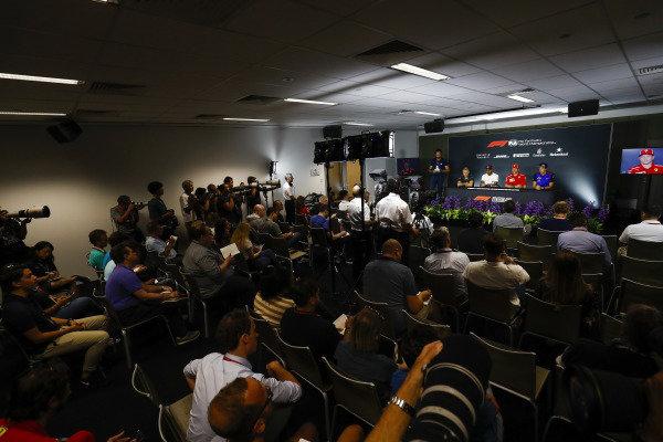 Kevin Magnussen, Haas F1 Team, Lewis Hamilton, Mercedes AMG F1, Kimi Raikkonen, Ferrari, and Brendon Hartley, Toro Rosso, in the Thursday press conference.