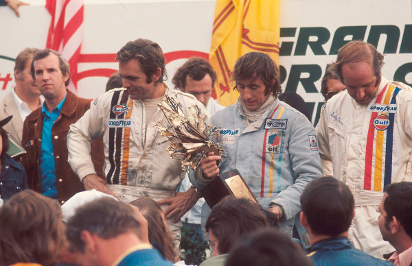 1972 Canadian Grand Prix.Mosport Park, Ontario, Canada.22-24 September 1972.Jackie Stewart (Tyrrell Ford) 1st position, Peter Revson (McLaren Ford) 2nd position and Denny Hulme (McLaren Ford) 3rd position on the podium.Ref-72 CAN 37.World Copyright - LAT Photographic