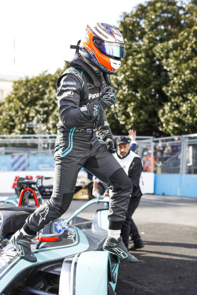 Mitch Evans (NZL), Panasonic Jaguar Racing, Jaguar I-Type 3, jumps from his car after winning