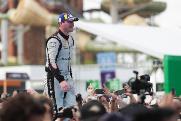 Oliver Rowland (GBR), Nissan e.Dams, makes his way to the podium