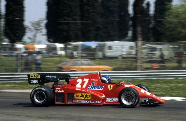 1983 San Marino Grand Prix.Imola, Italy.29/4-1/5 1983.Patrick Tambay (Ferrari 126C2B) 1st position.Ref-83 SM 08.World Copyright - LAT Photographic