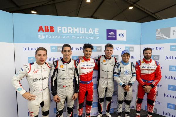 Robin Frijns (NLD), Envision Virgin Racing, Sébastien Buemi (CHE), Nissan e.Dams, Pascal Wehrlein (DEU), Mahindra Racing, Oliver Rowland (GBR), Nissan e.Dams, Felipe Massa (BRA), Venturi Formula E, and Jérôme d'Ambrosio (BEL), Mahindra Racing after super pole