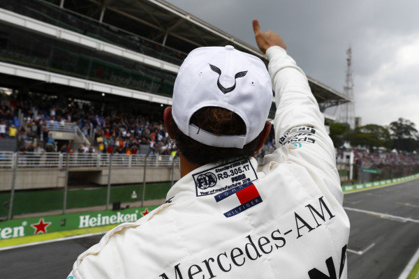 Lewis Hamilton, Mercedes AMG F1, celebrates taking poloe position.