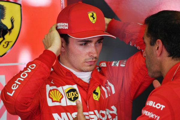 Charles Leclerc, Ferrari, talks to Marc Gene, Ferrari