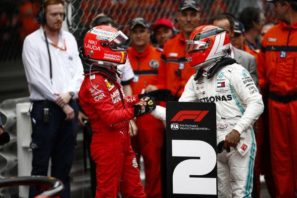 Sebastian Vettel, Ferrari, 2nd position, congratulates Lewis Hamilton, Mercedes AMG F1, 1st position, in Parc Ferme