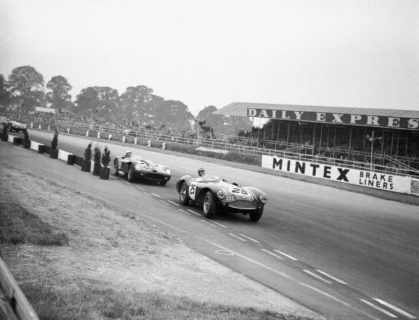 1956 British Grand Prix Meeting.Sports Car race. Silverstone, England. 14 July 1956.B Baxter (Aston Martin) leads AJ Nurse (Lister Bristol).Ref-Motor 770/11.World copyright - LAT Photographic
