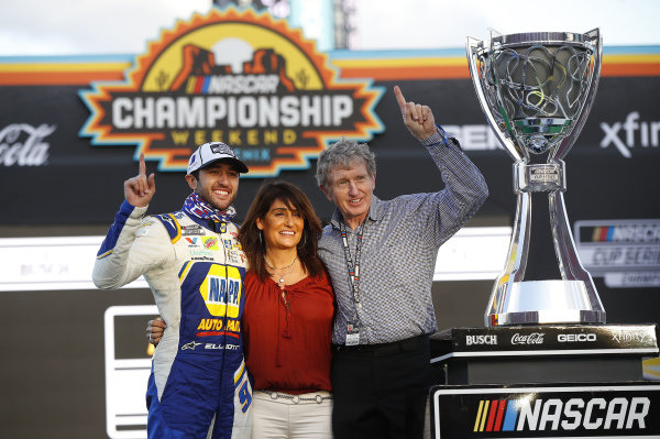 #9: Chase Elliott, Hendrick Motorsports, Chevrolet Camaro NAPA Auto Parts, celebrates after winning the 2020 Nascar Cup Series Championship, Bill & Cindy Elliott