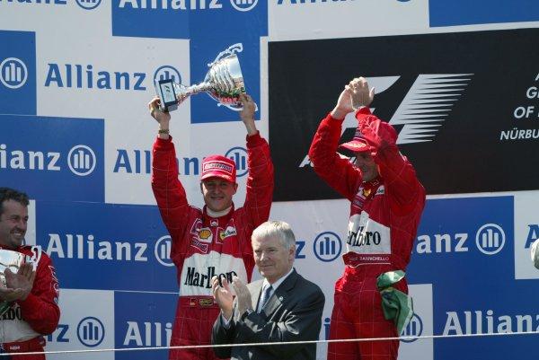 2002 European Grand Prix - RaceNurburgring, Germany. 23rd June 2002Race podium, Michael Schumacher, Ferrari F2002, 2nd, and Rubens Barrichello, 1st.World Copyright: Steve Etherington/LATref: Digital Image Only