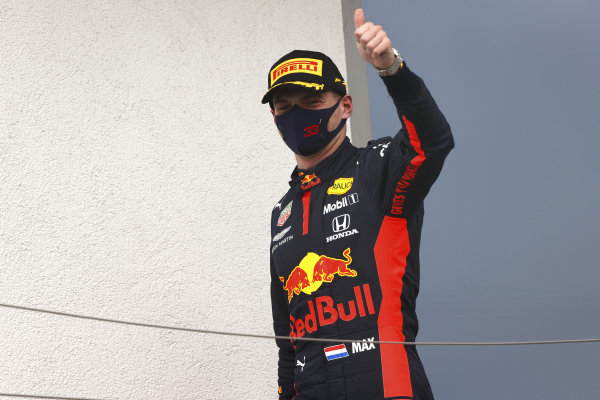 Max Verstappen, Red Bull Racing, on the podium
