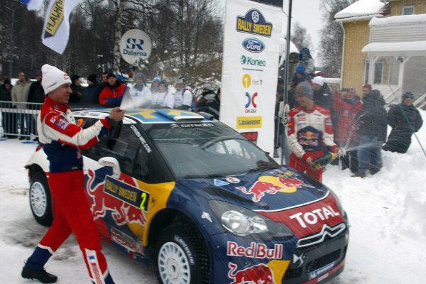 Round 01-Rally Sweden. 10th-13th February 2011.Sebastien Ogier, Julien Igrassia, Citroen WRC, Celebration.Worldwide Copyright: McKlein/LAT