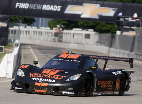 31 May-1 June, 2013, Detroit, Michigan, USA The #10 Chevrolet Corvette DP of Jordan Taylor and Max Angelelli is shown in action during practice. ©2013, R D. Ethan LAT Photo USA