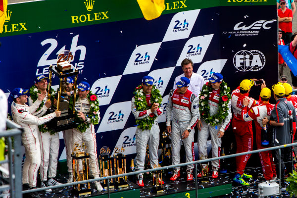 2016 Le Mans 24 Hours. Circuit de la Sarthe, Le Mans, France. Sunday 19 June 2016. Porsche Team / Porsche 919 Hybrid - Romain Dumas (FRA), Neel Jani (CHE), Marc Lieb (DEU), Toyota Gazoo Racing / Toyota TS050 - Hybrid - Stephane Sarrazin (FRA), Michael Conway (GBR), Kamui Kobayashi (JPN), Audi Sport Team Joest / Audi R18 - Lucas Di Grassi (BRA), Loic Duval (FRA), Oliver Jarvis (GBR), Rebellion Racing / Rebellion R-One-AER - Nicolas Prost (FRA), Nick Heidfeld (DEU), Nelson Piquet (NLD).  World Copyright: Zak Mauger/LAT Photographic ref: Digital Image _79P9242