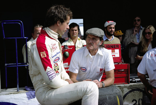 Tony Brise with team boss Graham Hill.