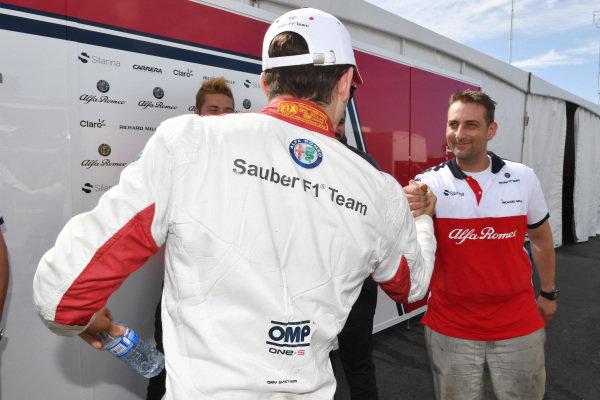 Charles Leclerc (MON) Alfa Romeo Sauber F1 Team celebrates with the team .