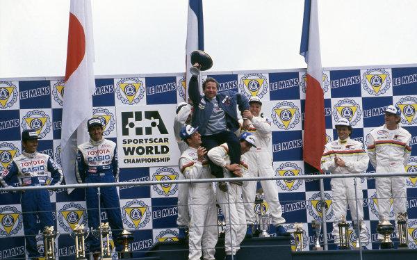 Podium winners Derek Warwick (GBR), Yannick Dalmas (FRA), Mark Blundell (GBR) and Jean Todt (FRA) Peugeot. Second place, Masanori Sekiya (JPN), Pierre Henri Raphanel (FRA) Toyota Third place, Mauro Baldi (ITA), Philippe Alliot (FRA) and Jean Pierre Jabouille (FRA) Peugeot. Le Mans 24 Hours, Le Mans, France, 20-21 June 1992.