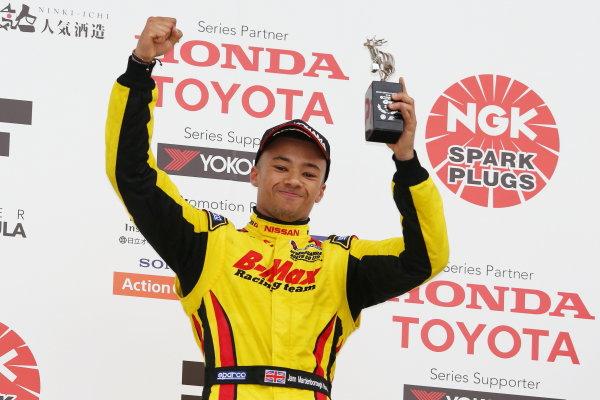 2016 Japanese Formula 3 Championship. Suzuka, Japan. 23rd - 24th April 2016. Rd 1 & 2. Rd. 1 2nd position Jann Mardenborough ( #22 B-MAX NDDP F3 ) podium, portrait.  World Copyright: Masahide Kamio / LAT Photographic. Ref: 2016JF3_Rd1&2_07