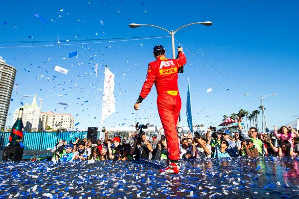 2015/2016 FIA Formula E Championship. Long Beach ePrix, Long Beach, California, United States of America. Sunday 3 April 2016. Lucas Di Grassi (BRA), ABT Audi Sport FE01. Photo: Zak Mauger/LAT/Formula E ref: Digital Image _L0U1856