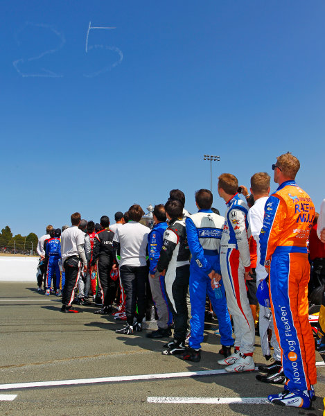 28-30 August, 2015, Sonoma, California USA Moment of silence for Justin Wilson ?2015, Ernie Masche LAT Photo USA