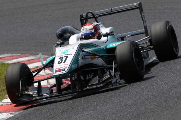 2015 Japanese Formula 3 Championship. Okayama, Japan. 23rd - 24th May 2015. Rd 6 & 7. Rd.7 2nd position Nick Cassidy ( #37 PETRONAS TOM'S F314 ) action World Copyright: Masahide Kamio/LAT Photographic. Ref:  2015JF3_Rd6&7_012