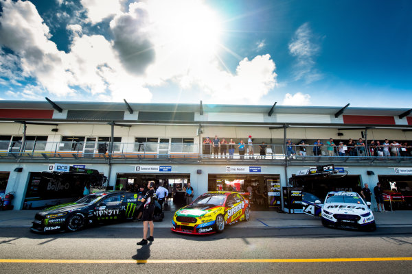 2017 Supercars Championship Round 7.  Townsville 400, Reid Park, Townsville, Queensland, Australia. Friday 7th July to Sunday 9th July 2017. Cameron Waters driver of the #6 Monster Energy Ford Falcon FGX, Chaz Mostert driver of the #55 Supercheap Auto Racing Ford Falcon FGX, Jason Bright driver of the #56 MEGA Racing Ford Falcon FG-X. World Copyright: Daniel Kalisz/ LAT Images Ref: Digital Image 090717_VASCR7_DKIMG_5434.NEF