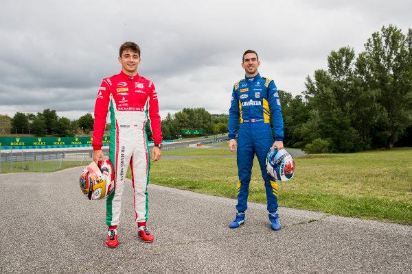 2017 FIA Formula 2 Round 7. Hungaroring, Budapest, Hungary. Thursday 27 July 2017. Charles Leclerc (MCO, PREMA Racing) and Nicholas Latifi (CAN, DAMS).  Photo: Zak Mauger/FIA Formula 2. ref: Digital Image _56I0160