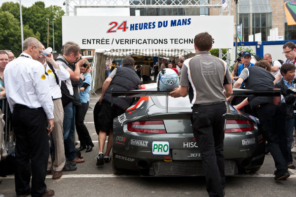 Aston Martin GT2 of Jota Sport AMR. Le Mans 24 Hours, La Sarthe, Le Mans, France, Scrutineering, 6 June 2011.