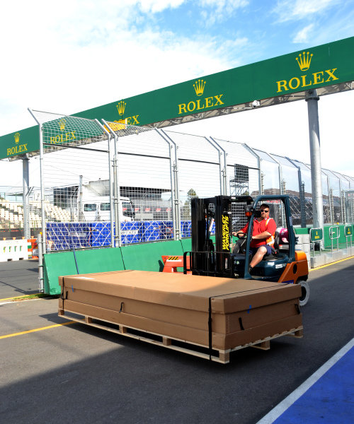 Freight on fork lift truck.