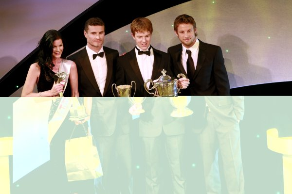 2006 Autosport AwardsGrosvenor House Hotel, London. 3rd December 2006.McLaren Autosport BRDC Young Driver Award winner Oliver Turvey with Jenson Button and David Coulthard on stage.World Copyright: Malcolm Griffiths/LAT Photographicref: Digital Image _MG_2867