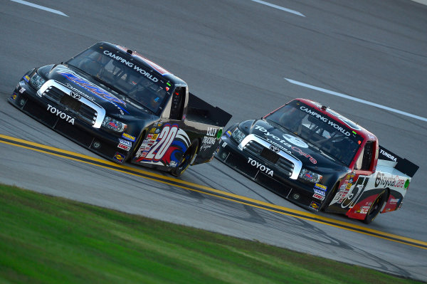 October 18-19, 2013, Talladega, Alabama USA Parker Kligerman and Kyle Busch trucks © 2013, Brian Czobat LAT Photo USA