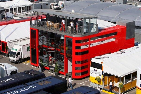 Ferrari motorhome. Formula One World Championship, Rd 4, Spanish Grand Prix, Practice Day, Barcelona, Spain, Friday 11 May 2007. DIGITAL IMAGE