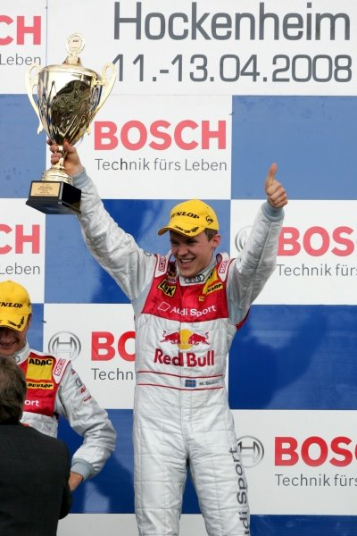 Matias Ekstrom (SWE) Audi Sport Team Abt Sportsline celebrates on the podium