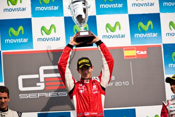 Circuit de Catalunya, Spain. 9th May 2010. Sunday Race.  Alexander Rossi (USA, ART Grand Prix) celebrates victory on the podium.Portrait. Photo: Drew Gibson/GP3 Media Service. Digital Image _Y9E0239