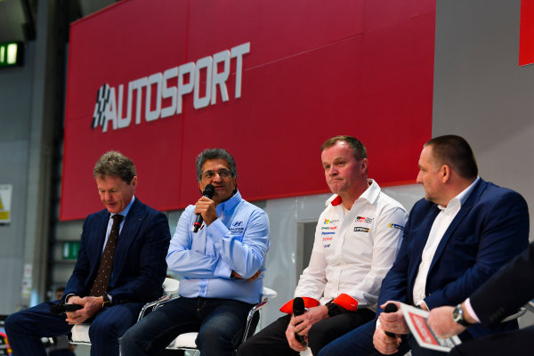 Autosport International Exhibition. National Exhibition Centre, Birmingham, UK. Thursday 11th January 2018. Malcolm Wilson, Michel Nandan, Tommi Makinen and Yves Matton talk to Henry Hope-Frost on the Autosport Stage. World Copyright: Mark Sutton/Sutton Images/LAT Images Ref: DSC_6620
