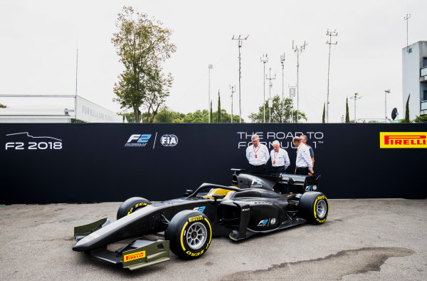 Autodromo Nazionale di Monza, Monza, Italy. Thursday 31 August 2017. The new F2 car is unveiled in the paddock. Photo: Zak Mauger/FIA Formula 2. ref: Digital Image _56I5237